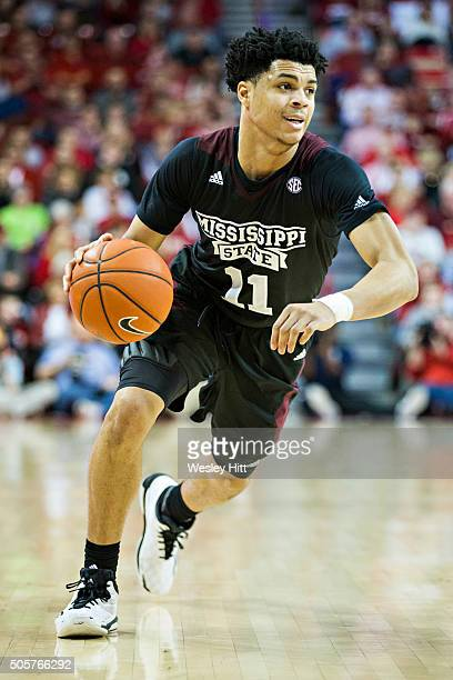 Quinndary Weatherspoon of the Mississippi State Bulldogs drives down the court during a game against the Arkansas Razorbacks at Bud Walton Arena on...