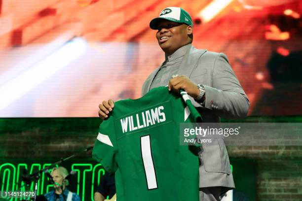 Quinnen Williams of Alabama reacts after he was picked overall by the New York Jets during the first round of the 2019 NFL Draft on April 25 2019 in...