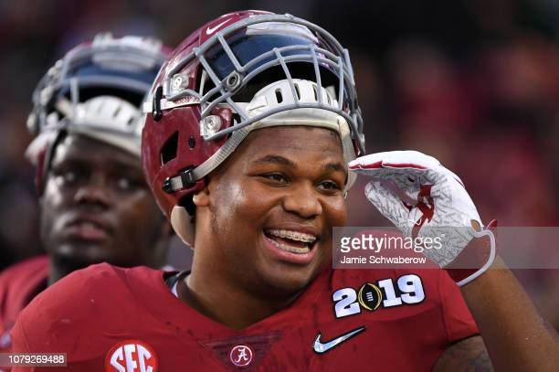 Quinnen Williams of the Alabama Crimson Tide smiles before taking on the Clemson Tigers during the College Football Playoff National Championship...