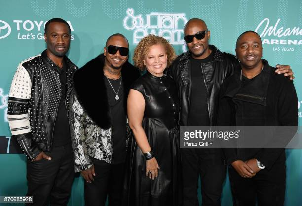 Quinnes 'Q' Parker and Michael 'Mike' Keith of 112 BET Chairman and CEO Debra Lee Daron Jones and Marvin 'Slim' Scandrick of 112 attend the 2017 Soul...