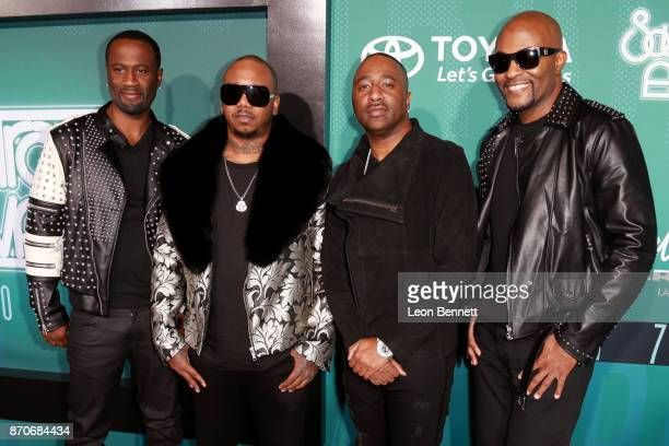 Quinnes 'Q' Parker Michael 'Mike' Keith Marvin 'Slim' Scandrick and Daron Jones of 112 attend the 2017 Soul Train Awards presented by BET at the...