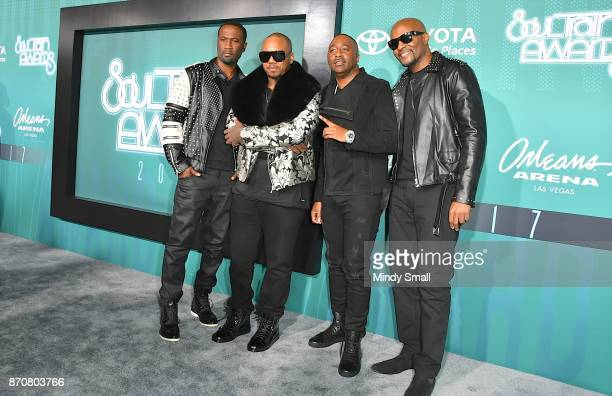 Quinnes 'Q' Parker Michael Mike Keith Marvin Slim Scandrick and Daron Jones of 112 attend the 2017 Soul Train Music Awards at the Orleans Arena on...