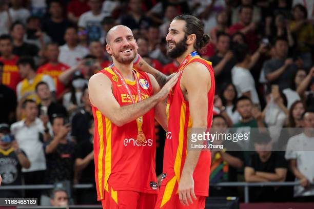 Quino Colom and Ricky Rubio of Spain players celebrates after defeating Argentina during the final of 2019 FIBA World Cup match between Argentina and...