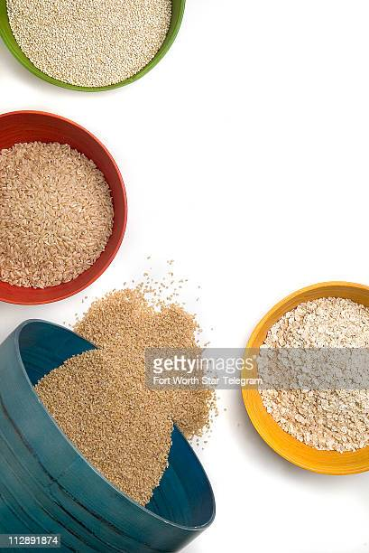 Quinoa bottom left can be used like rice barley bulgur millet or couscous as a side dish in salads soups and casseroles or as a hot cereal