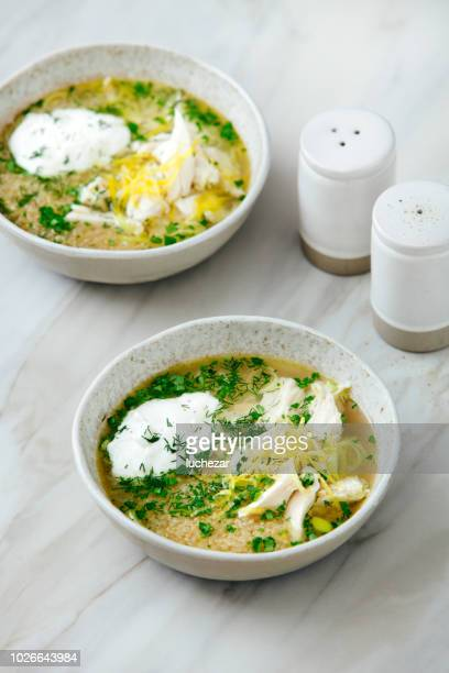 Quinoa chicken soup with herby lemon