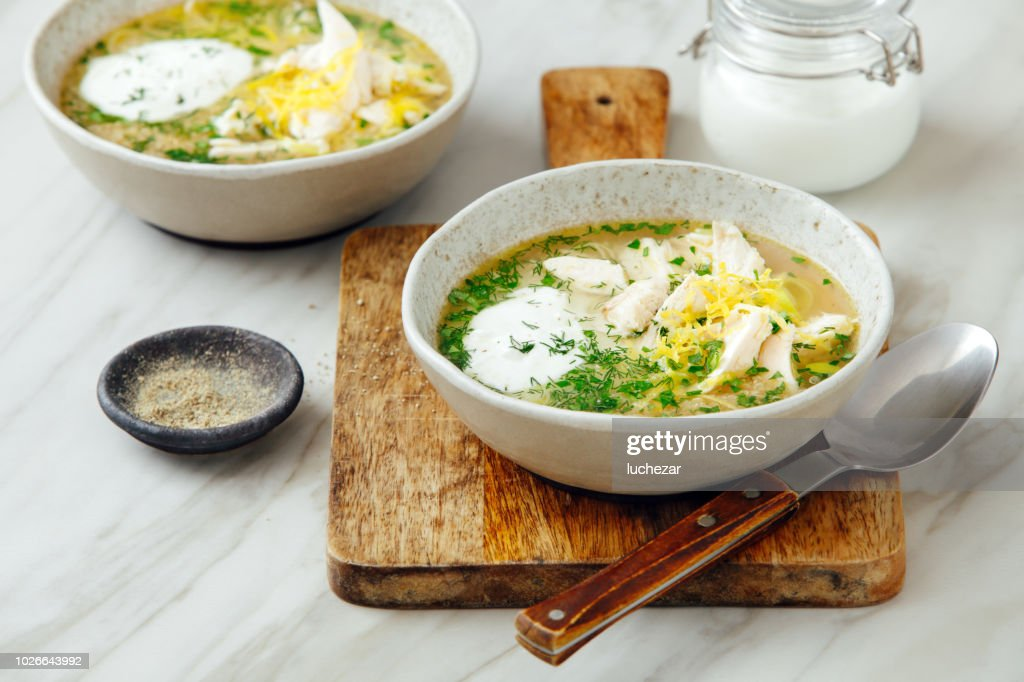 Quinoa chicken soup with herby lemon : Stock Photo