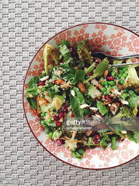 Quinoa salad with roasted broccoli and pomegranate