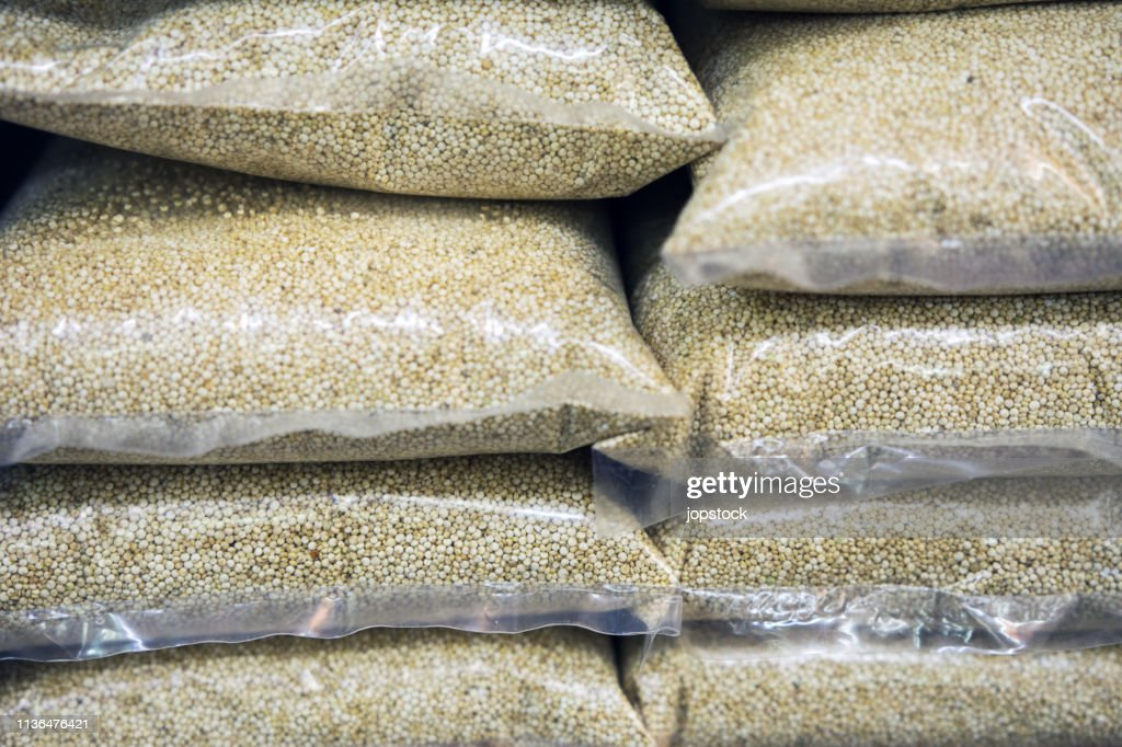 Quinoa seeds displayed for sale in a market stall : Stock Photo