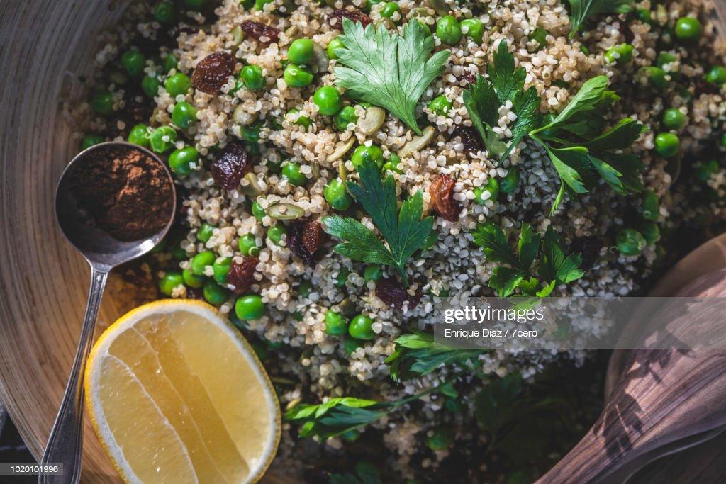 Quinoa Sweet Pea Pilaf Close Up : Foto de stock