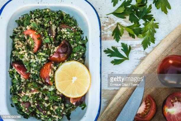 Quinoa Tabbouleh with Lemon Wheel