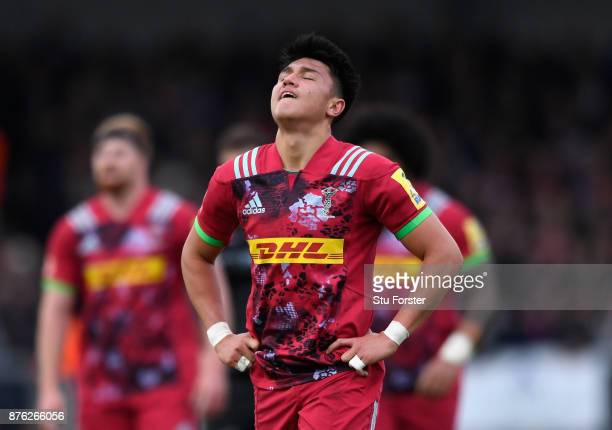 Quins fly half Marcus Smith reacts during the Aviva Premiership match between Exeter Chiefs and Harlequins at Sandy Park on November 19 2017 in...