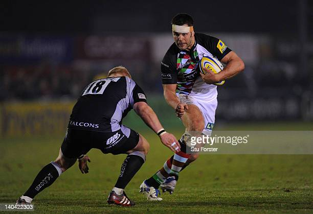 Quins number 8 Nick Easter runs into the Falcons defence during the Aviva Premiership game between Newcastle Falcons and Harlequins at Kingston Park...
