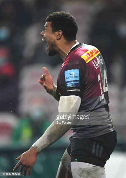 Quins wing Nathan Earle celebrates his try during the Gallagher Premiership Rugby match between Gloucester and Harlequins at Kingsholm Stadium on...