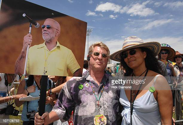 Quint Davis and Patricia Blanchet during 38th Annual New Orleans Jazz Heritage Festival Presented by Shell Ed Bradley Funeral Procession at Fair...