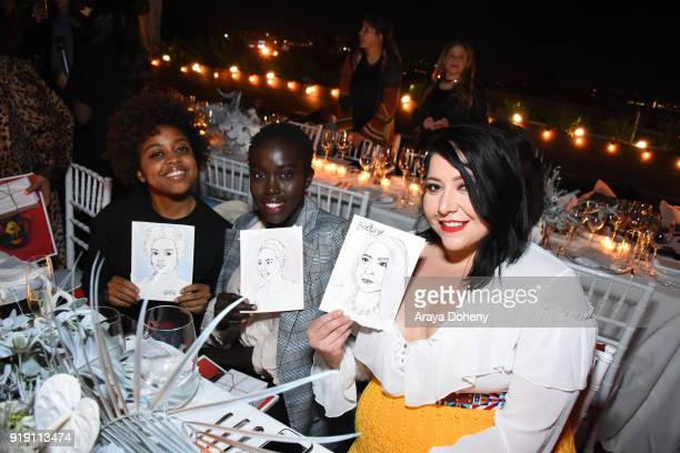 Quinta Brunson Kuoth Wiel and Bethany Yellowtail attend the Flaunt Magazine Dinner with Nike and Revolve on February 15 2018 in Los Angeles California