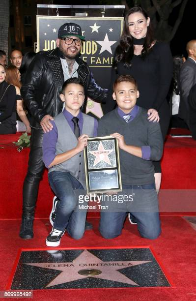 B Quintanilla III with his family attend the ceremony honoring Selena Quintanilla with a posthumous Star on The Hollywood Walk of Fame held November...