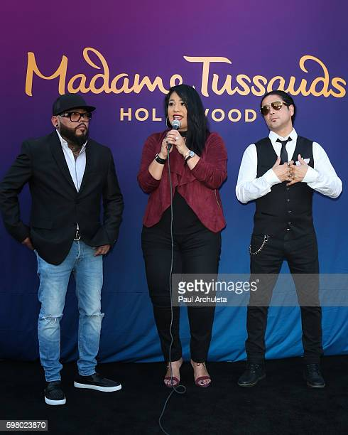Quintanilla, Suzette Quintanilla and Chris Perez attend the unveiling of the Selena Quintanilla wax figure at The Madame Tussauds Hollywood on August...