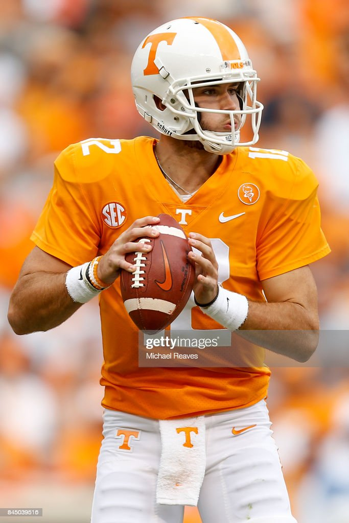 Quinten Dormady #12 of the Tennessee Volunteers looks to pass during the first half of the game against the Indiana State Sycamores at Neyland Stadium on September 9, 2017 in Knoxville, Tennessee.
