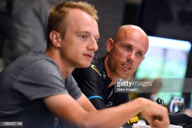 Quinten Hermans of Belgium and Sven Nys of Belgium general manager and owner of Team Telenet Fidea Lions during the Team Telenet Fidea Lions training...