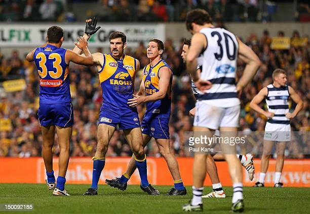 Quinten Lynch of the Eagles celebrates a goal during the round 20 AFL match between the West Coast Eagles and the Geelong Cats at Patersons Stadium...