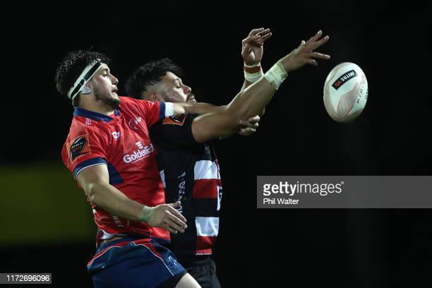 Quinten Strange of Tasman and Daymon Leasuasu of Counties contest the ball during the round 5 Mitre 10 Cup match between Counties Manukau and Tasman...