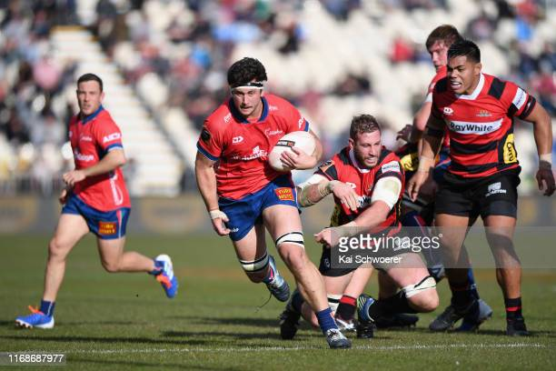 Quinten Strange of Tasman makes a break during the round two Mitre 10 Cup match between Canterbury and Tasman at Orangetheory Stadium on August 18...