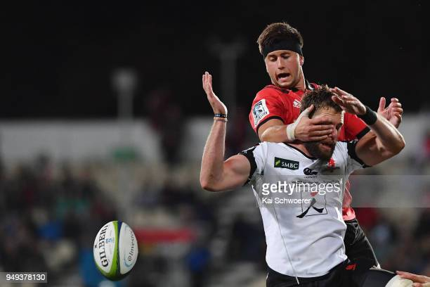 Quinten Strange of the Crusaders and Grant Hattingh of the Sunwolves compete for a lineout during the round 10 Super Rugby match between the...