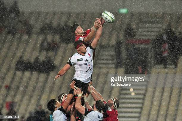 Quinten Strange of the Crusaders and James Moore of the Sunwolves compete for a lineout during the round 10 Super Rugby match between the Crusaders...