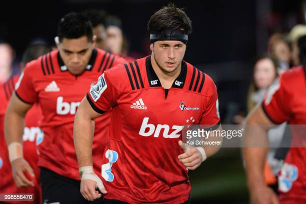 Quinten Strange of the Crusaders runs out prior to the round 19 Super Rugby match between the Crusaders and the Blues at AMI Stadium on July 14 2018...