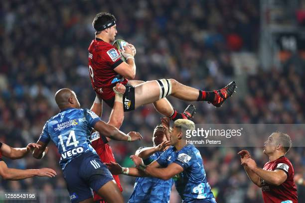 Quinten Strange of the Crusaders takes lineout ball during the round 5 Super Rugby Aotearoa match between the Crusaders and the Blues at Orangetheory...