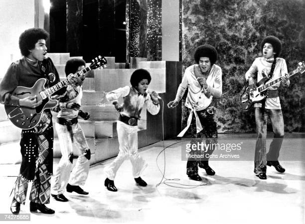 B quintet Jackson 5 perform on a TV show in circa 1969 Tito Jackson Marlon Jackson Michael Jackson Jackie Jackson Jermaine Jackson