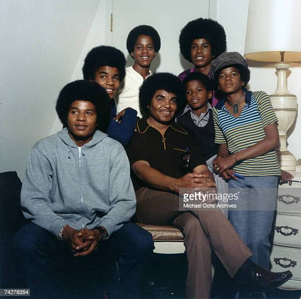 B quintet 'Jackson 5' pose for a portrait with their youngest brother Randy and father Joe Clockwise from bottom left Jackie Jackson Tito Jackson...