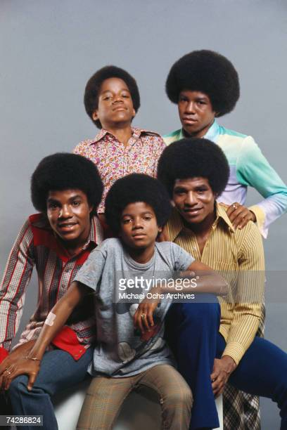 B quintet Jackson Five pose for a portrait in June 1971 in Los Angeles California LR front row seated Tito jackson Michael Jackson Jackie Jackson LR...