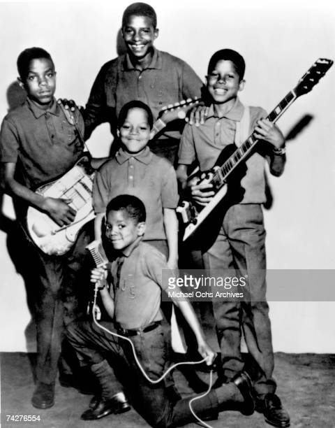 B quintet The Jackson 5 pose for a portrait with their instruments circa 1965 in Chicago Illinois