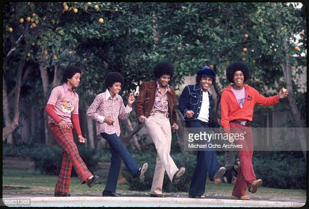 RB quintet The Jackson Five pose for a portrait in the backyard of their home Los Angeles 1972 From left to right Marlon Jackson Michael Jackson...