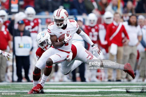 Quintez Cephus of the Wisconsin Badgers runs after a catch in the second quarter of a game against the Indiana Hoosiers at Memorial Stadium on...