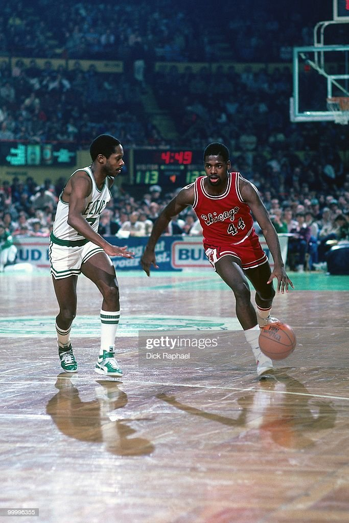 Quintin Dailey #44 of the Chicago Bulls drives to the basket against Nate 'Tiny' Archibald #7 of the Boston Celtics during a game played in 1983 at the Boston Garden in Boston, Massachusetts.