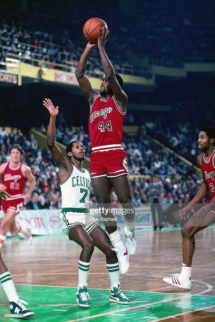 Quintin Dailey #44 of the Chicago Bulls shoots against the Boston Celtics during a game played in 1983 at the Boston Garden in Boston, Massachusetts.