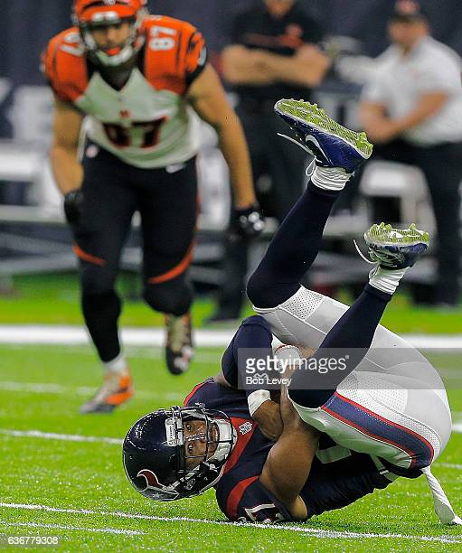 Quintin Demps of the Houston Texans intercepts a pass against the Cincinnati Bengals at NRG Stadium on December 24, 2016 in Houston, Texas. Houston...