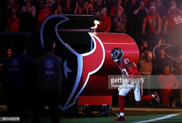 Quintin Demps of the Houston Texans is introduced before playing against the New England Patriots on December 13, 2015 at NRG Stadium in Houston,...