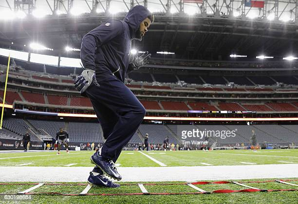 Quintin Demps of the Houston Texans warms up before the game between the Houston Texans and the Jacksonville Jaguars at NRG Stadium on December 18,...