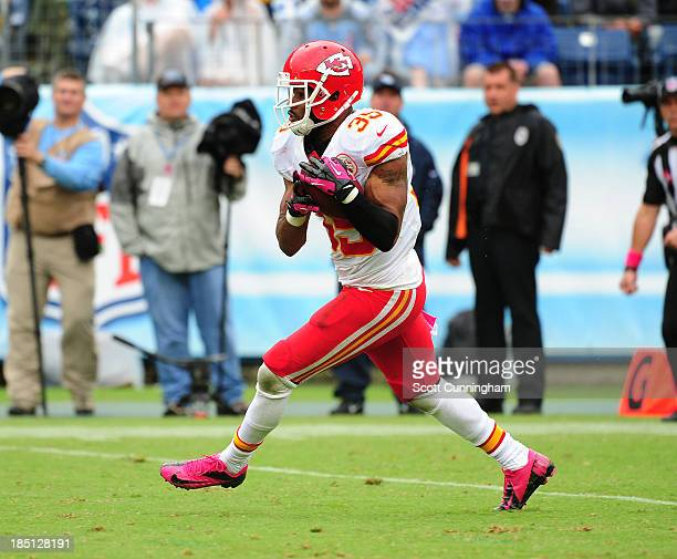 Quintin Demps of the Kansas City Chiefs returns a kick against the Tennessee Titans at LP Field on October 6, 2013 in Nashville, Tennessee.