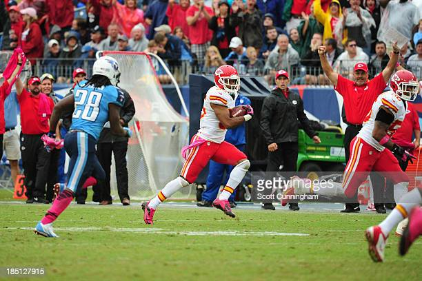 Quintin Demps of the Kansas City Chiefs returns an interception against the Tennessee Titans at LP Field on October 6, 2013 in Nashville, Tennessee.