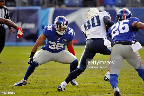 Quintin Demps of the New York Giants plays against the Tennessee Titans at LP Field on December 7 2014 in Nashville Tennessee