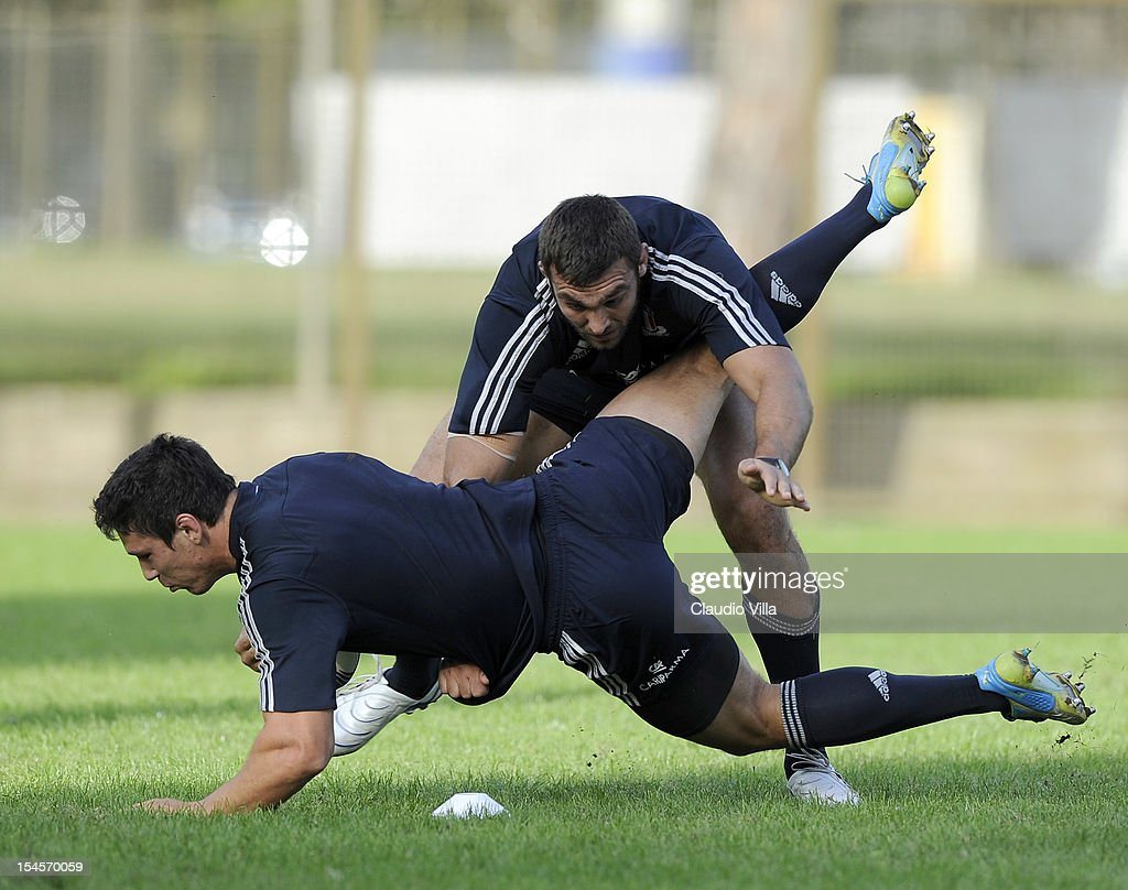 Quintin Geldenhuys (R) and Francesco Minto of Italy during a training session on October 22, 2012 in Rome, Italy.