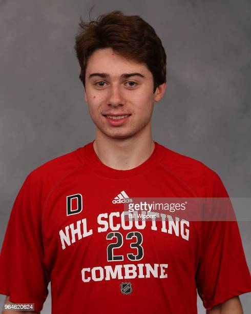 Quintin Hughes poses for a headshot at the NHL Scouting Combine on May 31 2018 at HarborCenter in Buffalo New York