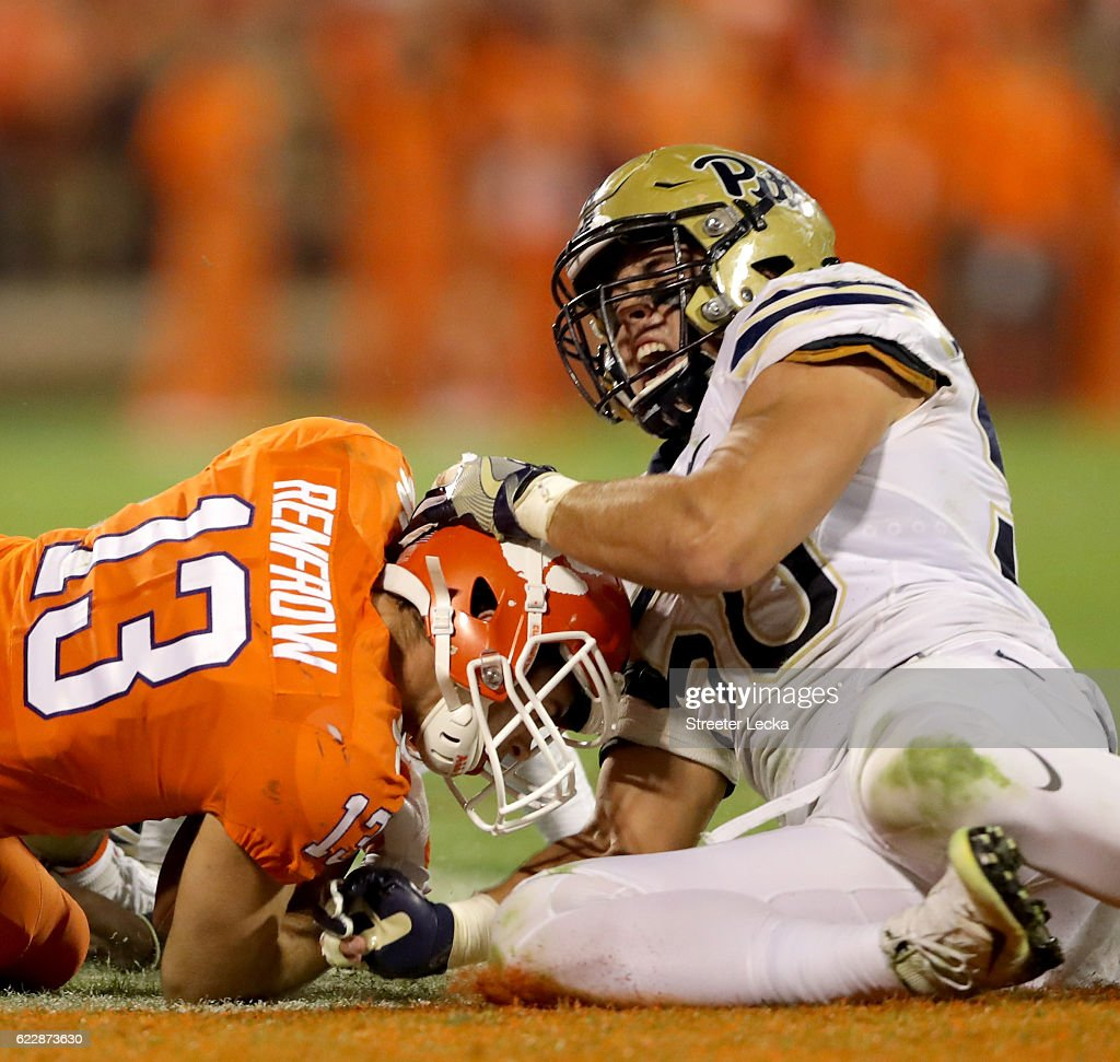 Quintin Wirginis #58 of the Pittsburgh Panthers tackles Hunter Renfrow #13 of the Clemson Tigers during their game at Memorial Stadium on November 12, 2016 in Clemson, South Carolina.