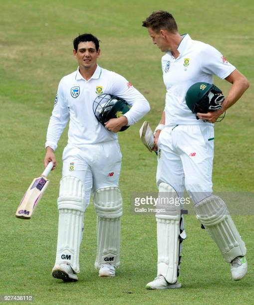 Quinton de Kock and Morne Morkel of the Proteas during day 5 of the 1st Sunfoil Test match between South Africa and Australia at Sahara Stadium...