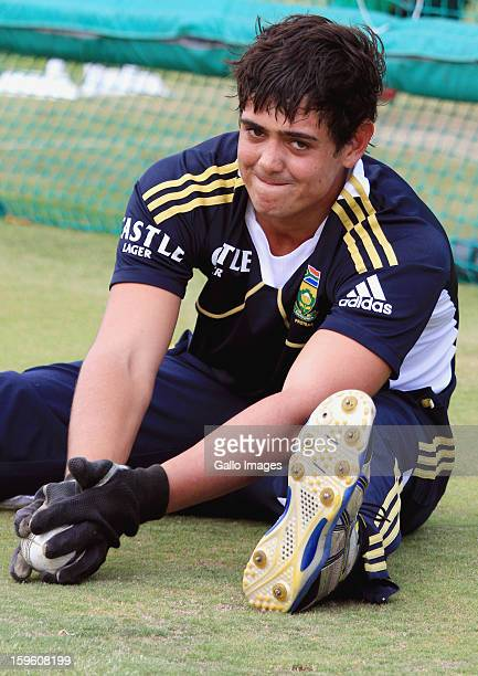 Quinton de Kock attends the South African national cricket team nets session and press conference at Claremont Cricket Club on January 17 2013 in...