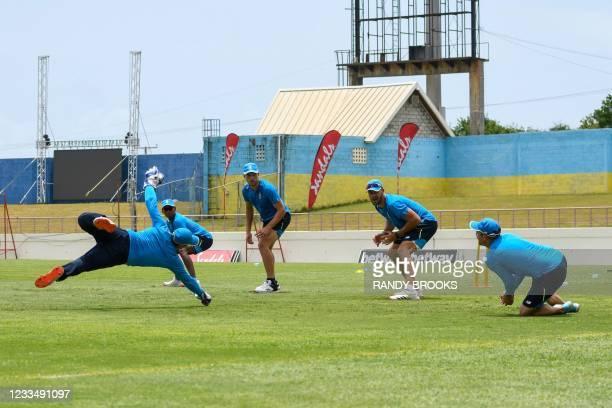 Quinton de Kock , Keegan Petersen , Wiaan Mulder , Aiden Markram and Dean Elgar of South Africa train two days ahead of the 2nd Test between South...